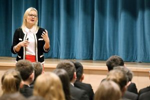 Liv Garfield, CEO of Severn Trent speaks to Year 7 students